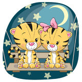 Valentine card with Lovers Tigers. On the swing Royalty Free Stock Photos