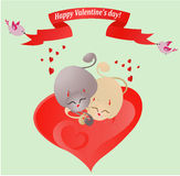Valentine card with loving cats. (vector). Couple of cats in love, sleeping close together. All layers are signed, easy editable Stock Photography