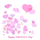 Valentine card. Many flying pink hearts together Royalty Free Stock Photography