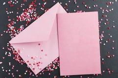 Valentine Card med hjärtastänk royaltyfri foto