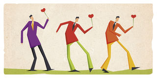 Valentine card of men walking with hearts Royalty Free Stock Image