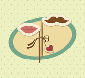 Valentine card with mustache and lips. Stock Photo