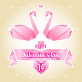 Valentine card, origami swan, paper cranes Royalty Free Stock Photography