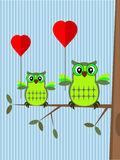 Valentine card with owls. Royalty Free Stock Photos