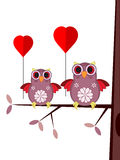 Valentine card with owls. Royalty Free Stock Photo