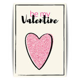 Valentine card with pink glitter heart. Be my Valentine Stock Images