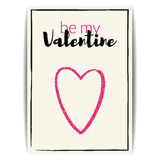 Valentine card with pink glitter heart. Be my Valentine Royalty Free Stock Image