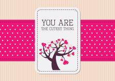 Valentine card with pink ribbon Stock Image