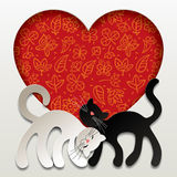 Valentine card. Raster version of vector valentine card with two paper white and black cats in love against a red heart with floral background. There is in Stock Images
