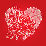 Valentine card with red heart and branch. Valentine card with heart and blossom branch Stock Photo
