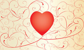 Valentine card with red heart Royalty Free Stock Images