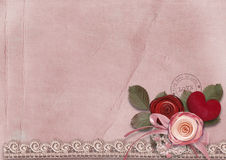 Valentine card with red heart and roses Royalty Free Stock Image