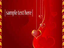 Valentine card with red hearts Stock Photography
