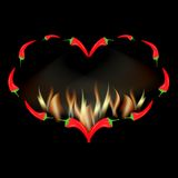 Valentine card red pepper in fire. Valentine card red pepper pod laid out in the shape of heart in fire royalty free illustration
