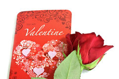 Valentine Card With Red Rose Stock Photo