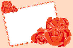 Valentine Card with red roses and message frame Stock Images
