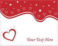Valentine card - red and white. Illustration of hearts love card in red and white colors,with hearts and stars.Easy to edit adding your text.Useful for Valentine Royalty Free Stock Images