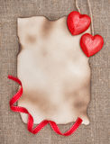 Valentine card with red wooden hearts Stock Photos