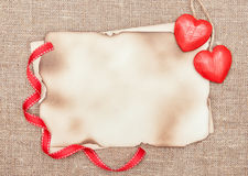 Valentine card with red wooden hearts Stock Photo