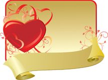 Valentine card with ribbon Royalty Free Stock Photos