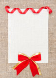 Valentine card with ribbon and bow Stock Photo
