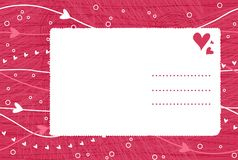 Valentine card on seamless background in vector. Card, valentines day on the pink background Stock Photo