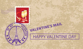 Valentine card with stamp Stock Photo