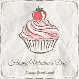Valentine card with  strawberry cupcake Stock Photography