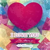 Valentine card with stunning pink heart Royalty Free Stock Photos