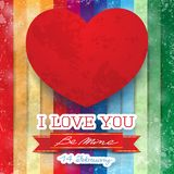 Valentine card with stunning red heart Royalty Free Stock Images
