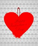 Valentine card. Stylist valentine card with stitches. Silver background vector illustration