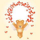 Valentine card with teddy bear with hearts Royalty Free Stock Photos