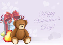 Valentine card with teddy bear Stock Images