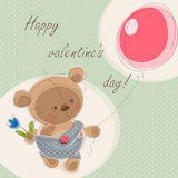 Valentine card. With teddy bear. Vector illustration Royalty Free Stock Image