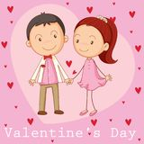 Valentine card template with boyfriend and girlfriend. Illustration Royalty Free Stock Photo