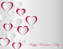 Valentine card template with cut paper hearts. Vector illustration in eps10 format Royalty Free Stock Photos