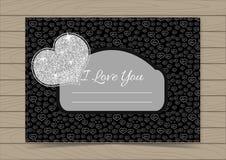 Valentine Card Template de plata Foto de archivo libre de regalías