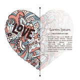 Valentine card template with dodle graphic. Colorful heart. Creative design for text block Stock Photography