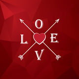 Valentine card template with heart, love and arrows. Romantic low poly red vector background. Royalty Free Stock Images