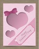 Valentine Card Template rosado acortado con los corazones Foto de archivo