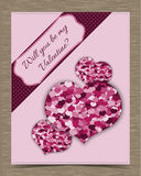 Valentine Card Template rosado con los corazones Imágenes de archivo libres de regalías
