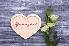 Valentine card with text you are my heart Royalty Free Stock Image