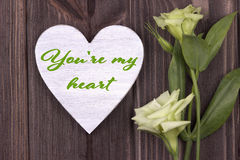 Valentine card with text You`re my heart green Stock Photography