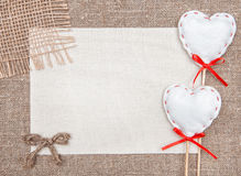 Valentine card with textile hearts and sacking Stock Photos