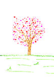 Valentine card with tree and hearts isolated Stock Photography