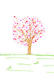 Valentine card with tree and hearts isolated Royalty Free Stock Image