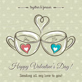 Valentine card with two cup of hot drink and wishes text Stock Images
