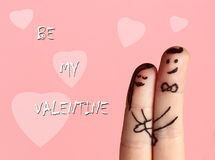 Valentine card with two fingers stock photography