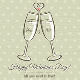 Valentine card with two glass of wine and wishes text Royalty Free Stock Images