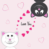 Valentine card with two happy lovers cats. Royalty Free Stock Photography